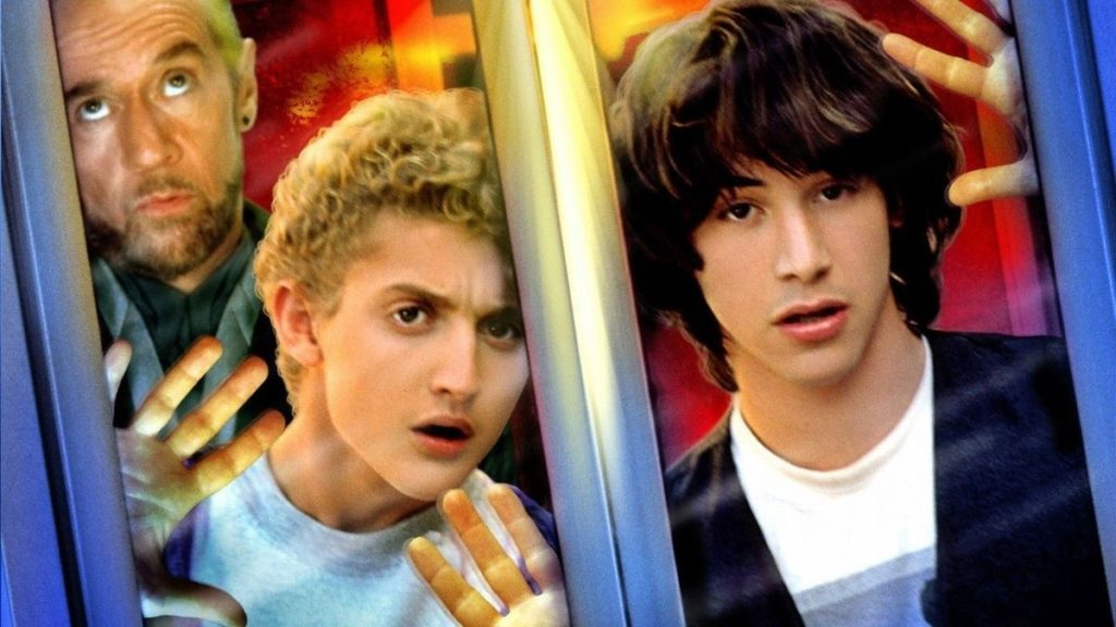 George Carlin, Alex Winter e Keanu Reeves nel film Bill & Ted's Excellent Adventure