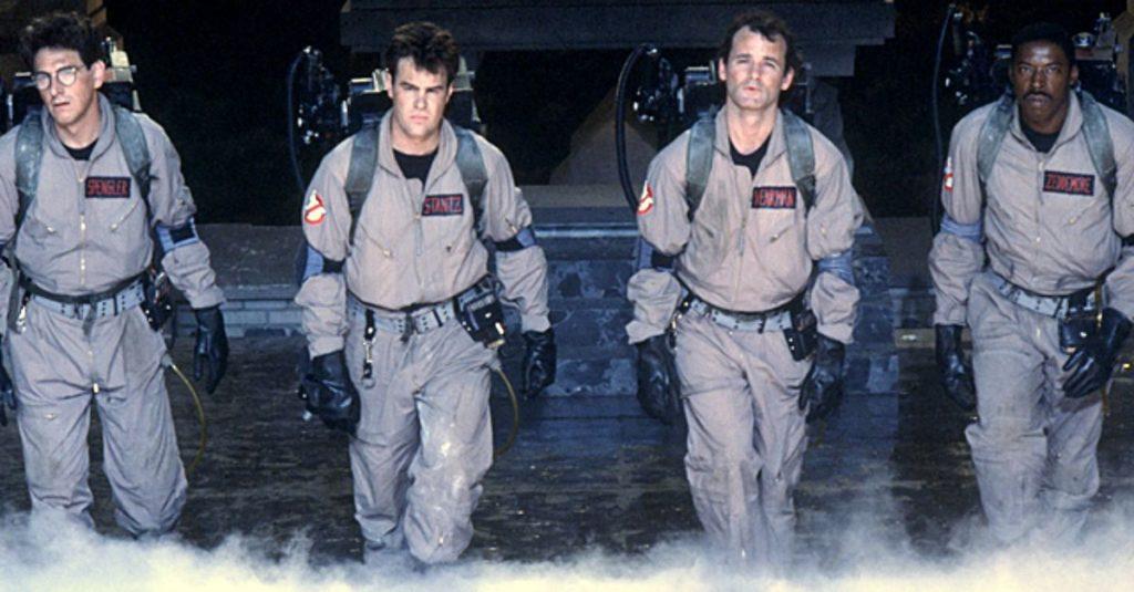 Harold Ramis, Dan Aykroyd, Bill Murray e Ernie Hudson in una scena di Ghostbusters