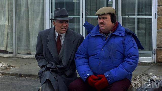 Steve Martin e John Candy in una scena di Un biglietto in due