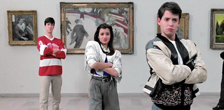 Metthew Brodherick, Mia Sara e Alan Ruck in una scena di Una pazza giornata di vacanza
