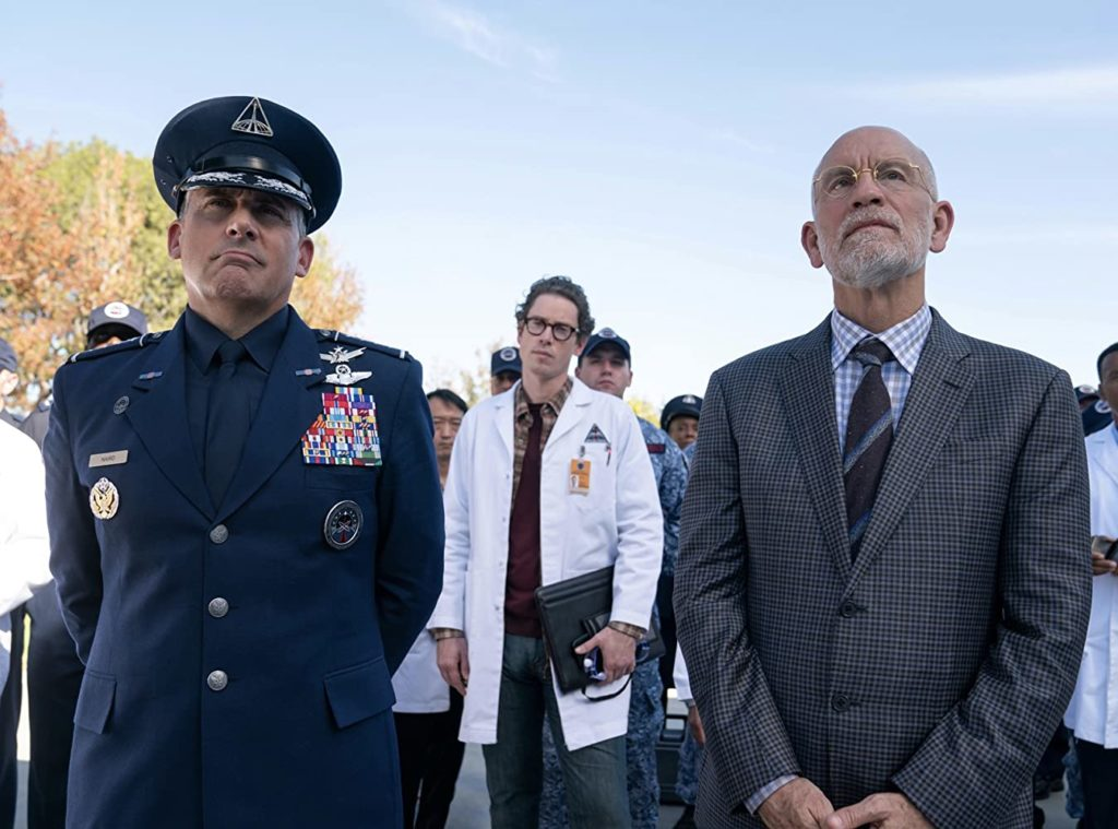 John Malkovich, Steve Carell e Bryan Cave in Space Force