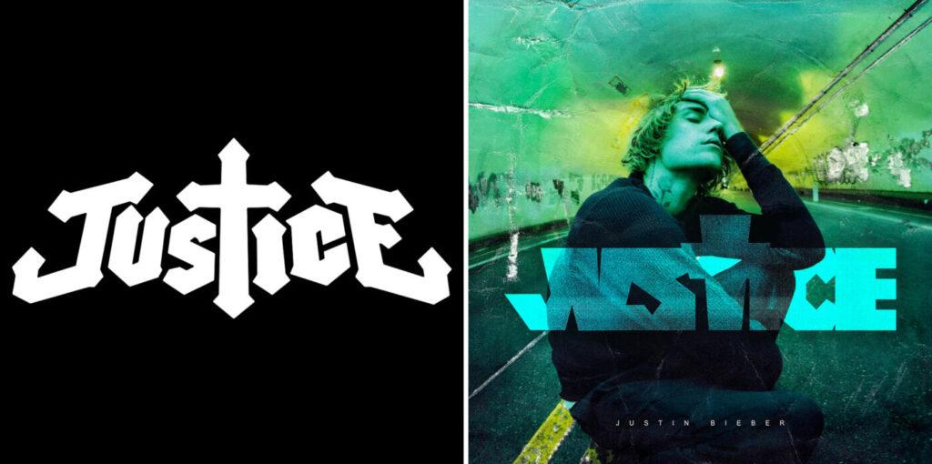 il logo Justice dei francesi e la cover dell'album di Justin Bieber.