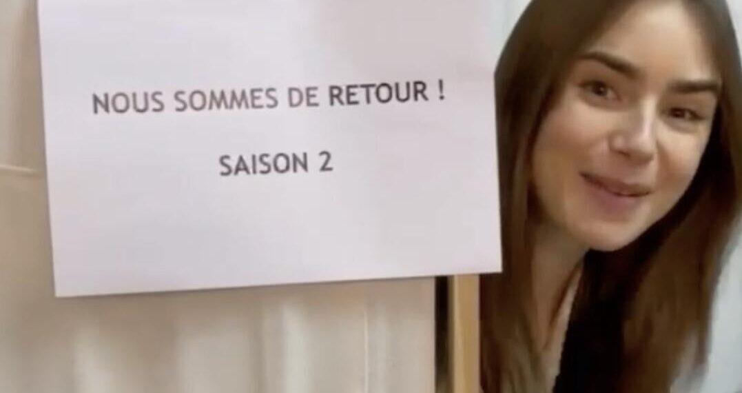 Lily Collins sul set di Emily in Paris 2