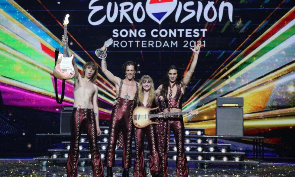 I Måneskin sul palco dell'Eurovision Song Contest 2021